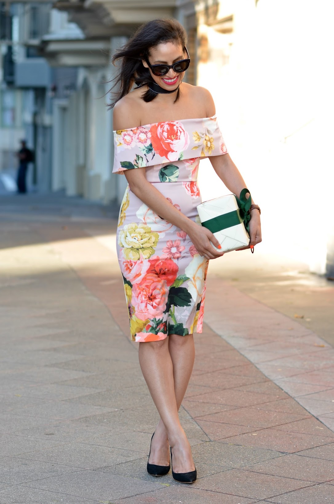 Allergic To Vanilla, wedding season, what to wear to a wedding, how to look chic at a wedding, summer wedding style, floral off the shoulder dress, floral garden dress, off the shoulder, flirty and feminine dress, asos summer dress