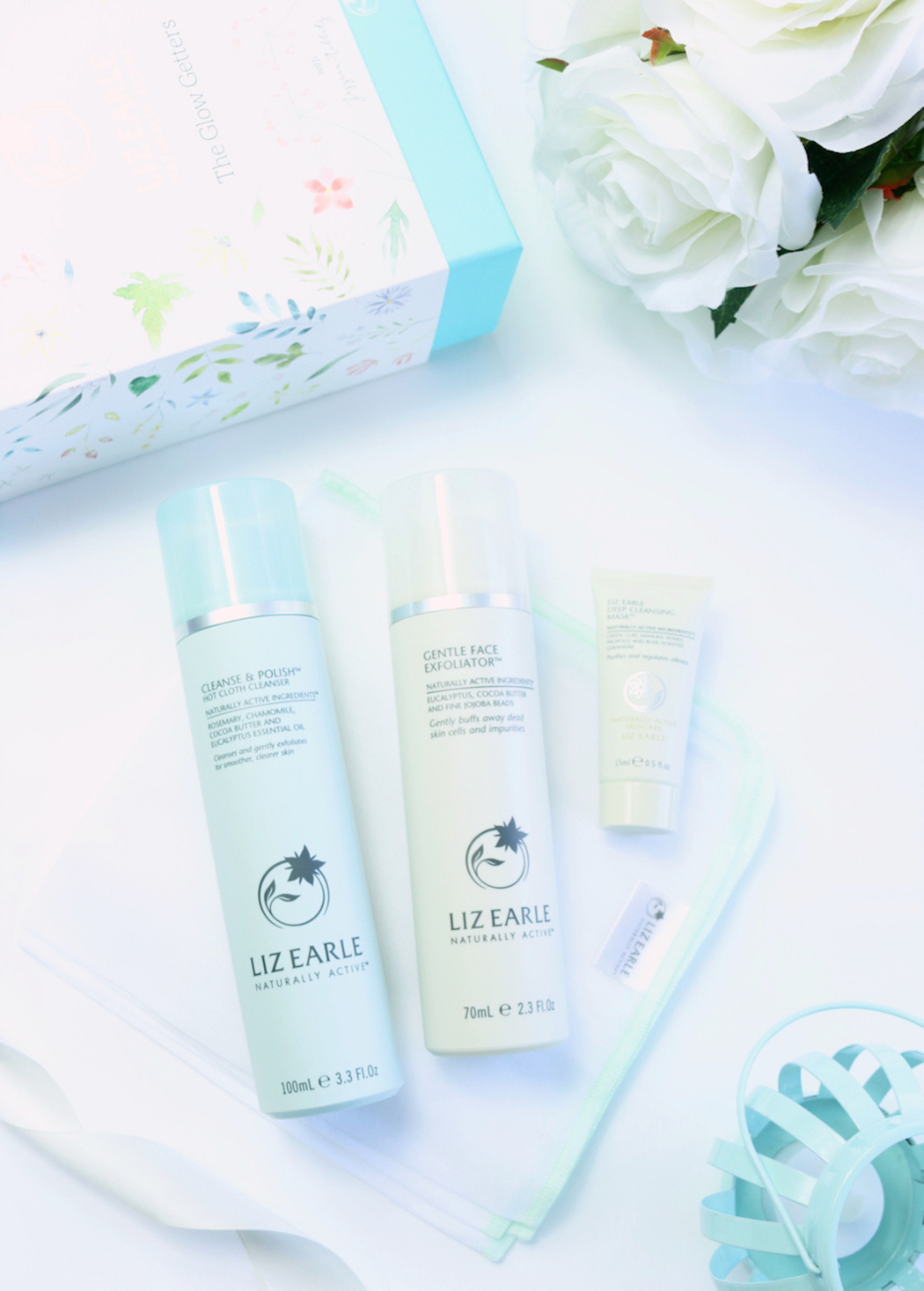 Liz Earle The Glow Getters Gift Set, including the Liz Earle Cleanse & Polish Hot Cloth Cleaner, Liz Earle Gentle Face Exfoliator and Liz Earle Deep Cleansing Mask