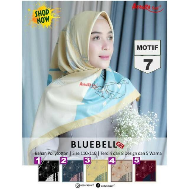 Jilbab Segi Empat Terbaru Bluebell New Serries Polycotton Motif Premium