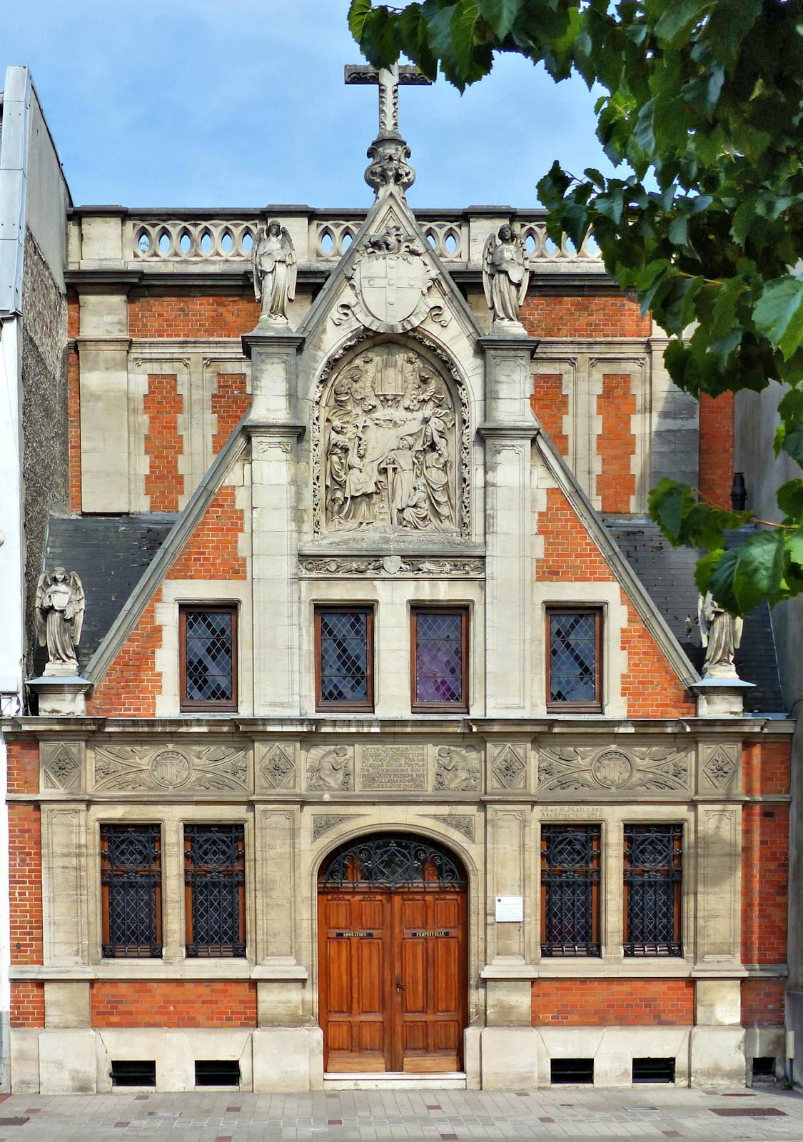 Chapelle du Voeu, Tourcoing - Façade rue Faidherbe.