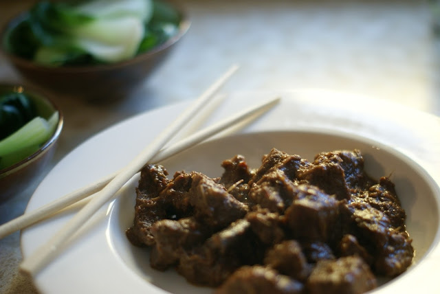 beef rendang with asian greens