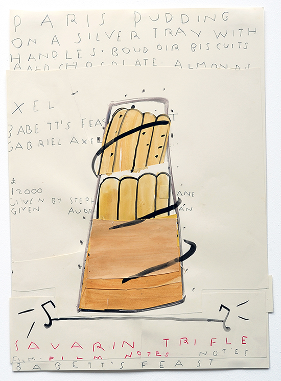 Rose Wylie Savarin Trifle (Film Notes), 2010 Watercolour and collage on paper 84 × 59 cm