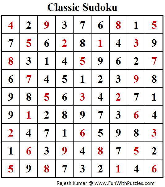 Classic Sudoku Puzzles (Fun With Sudoku #211) Solution