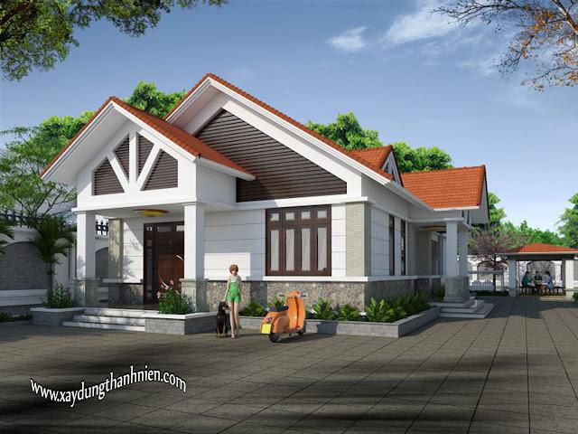 Mẫu Nhà Cấp 4 Đẹp 120m2 Mái Thái 2 Phòng Ngủ