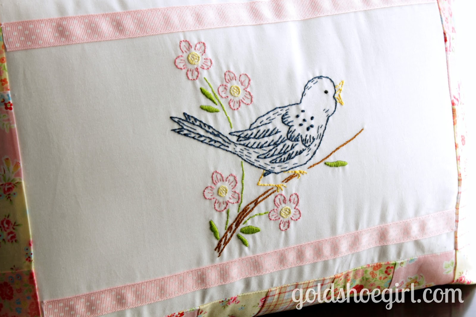 Pillow Cover Embroidery Designs Decorticosis With Embroider Sweet Dream Gold Shoe Girl A Little Birdie Told Me