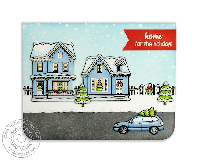 Sunny Studio Stamps: Christmas Home Neighborhood Home For The Holidays Card by Mendi Yoshikawa