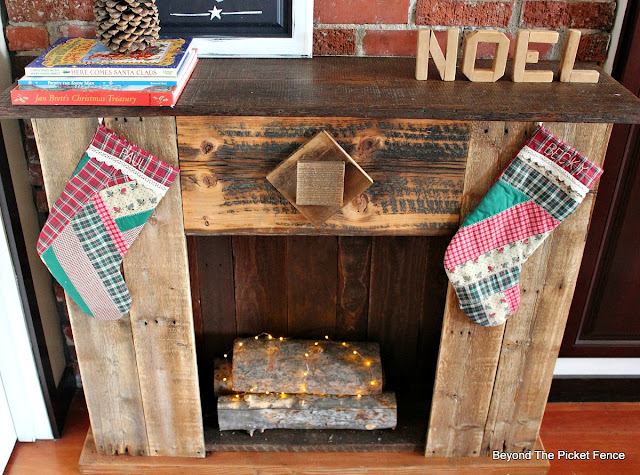Faux fireplace, live edge wood, Christmas mantel, rustic decor, https://goo.gl/dPDK5r