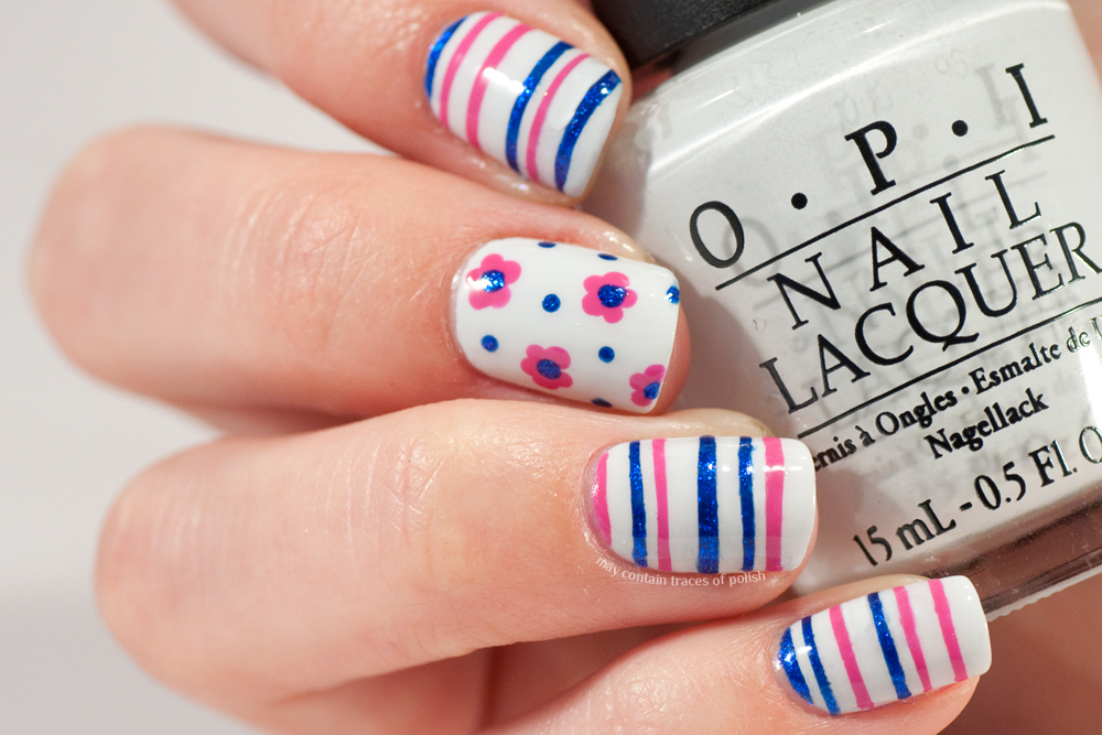 Stripes and flowers nail art may contain traces of polish i went back to basics using striping tape and a dotting tool to create my manicure it gets me a little nostalgic for a quite recent past in which these two prinsesfo Images