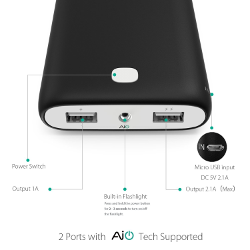 Aukey 20000mAh Portable Charger External Battery Power Bank with AIPower Tech for iPhone 6S,6S Plus,6Plus,6,iPad,Samsung Galaxy,Google Nexus,LG,HTC,Motorola and other USB Powered Devices