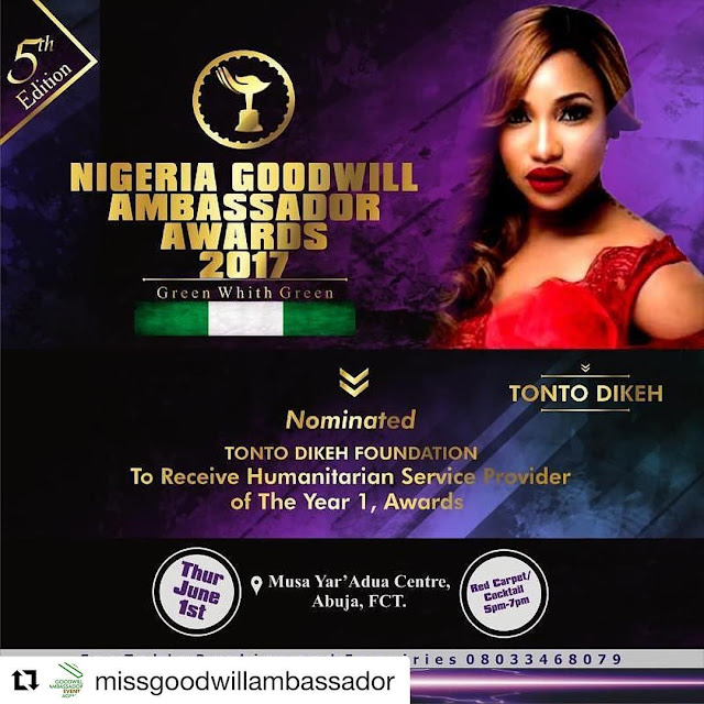 Controversy trails as Tonto Dikeh joins Rosaline Meurer to bag same award