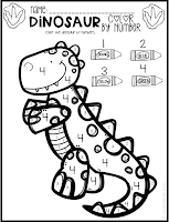 Dinosaur Math and Literacy Worksheets for Preschool