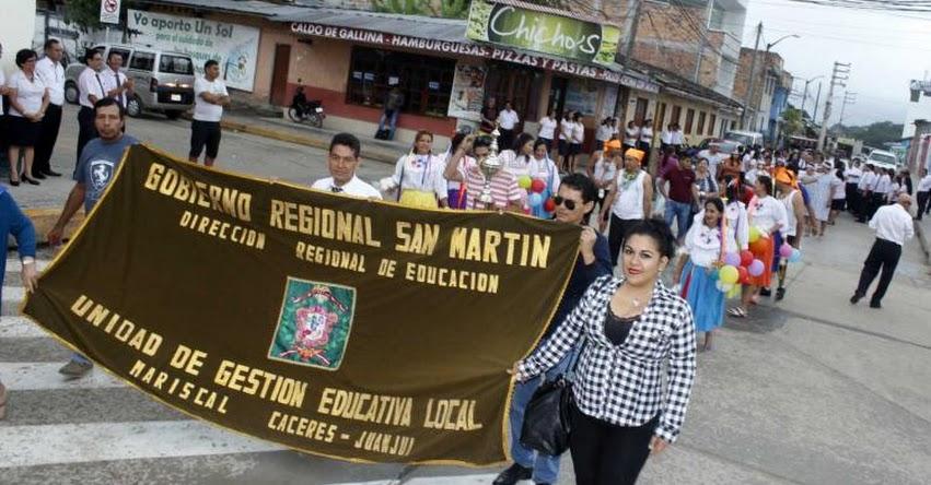 DRE San Martín celebró 38 aniversario con pasacalle en la ciudad de Moyobamba