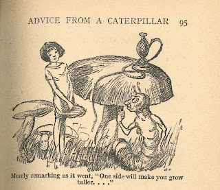 An illustration of Alice standing next to a large mushroom and a large, anthropomorphized caterpillar with a hookah.