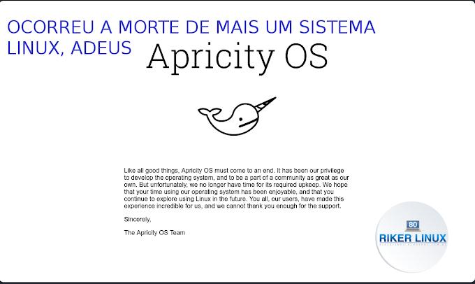 OCORREU A MORTE DE MAIS UM SISTEMA LINUX, ADEUS APRICITY OS