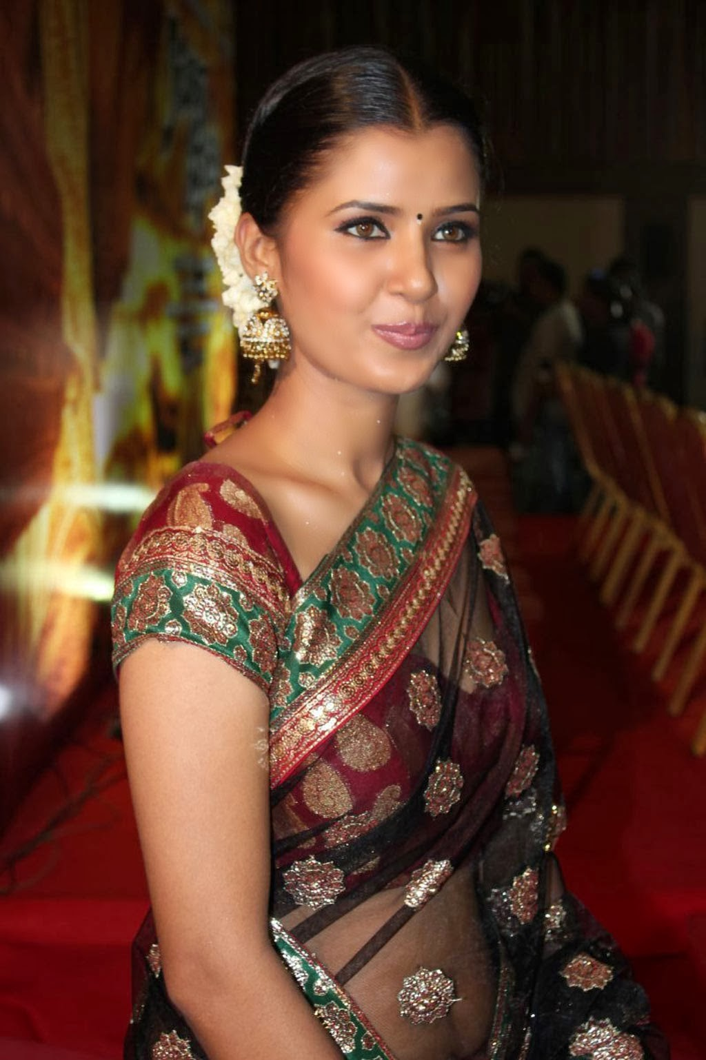 Transparent Saree: Jennifer Latest Hot Navel Show Photos In Transparent Saree