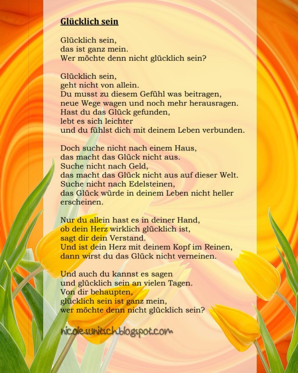 Gedichte Von Nicole Sunitsch Autorin Glücklich Sein