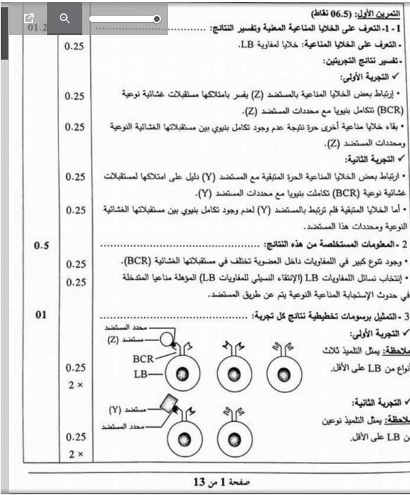 تصحيح بكالوريا 2016 الجزئية اختبار العلوم الطبيعية شعبة علوم تجريبية