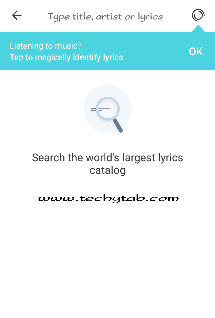 Music player lyrics display, musixmatch app