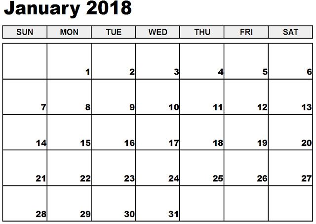 January 2018 Calendar, Free January 2018 Calendar, Blank January 2018 Calendar, Printable January 2018 Calendar, January 2018 Calendar Template