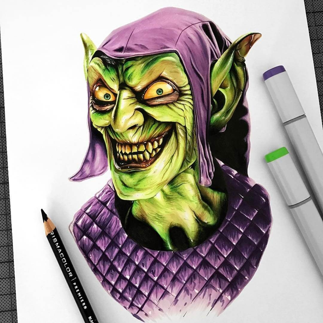 13-Green-Goblin-Stephen-Ward-Movie-and-Comics-Superheroes-and-Villains-Drawings-www-designstack-co