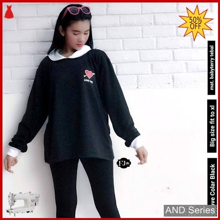 AND359 Sweater Wanita Love Colar Hitam BMGShop