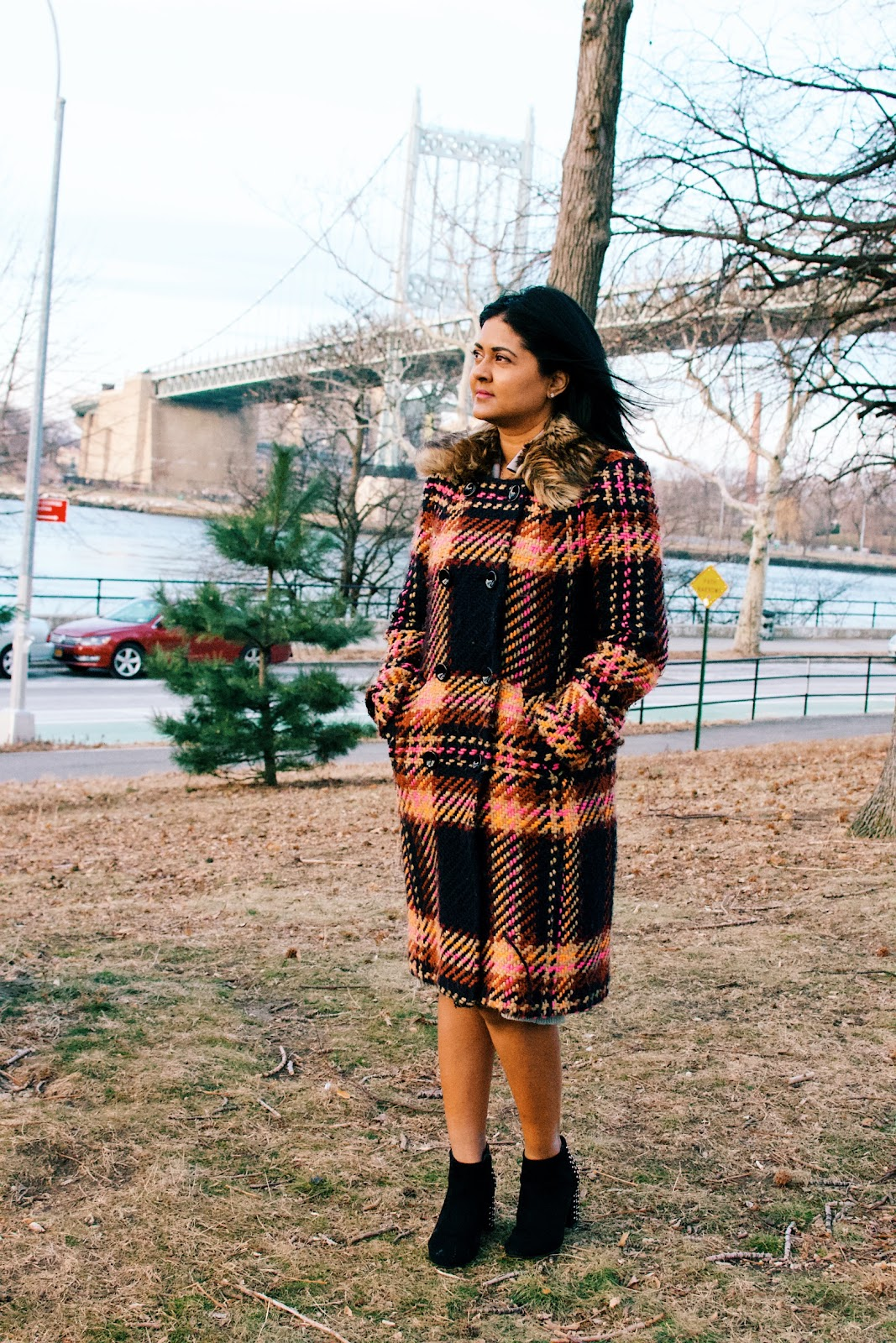 Trina Turk colorful plaid wool coat
