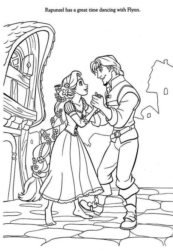 Tranh tô màu nàng công chúa tóc mây nhảy với flynn