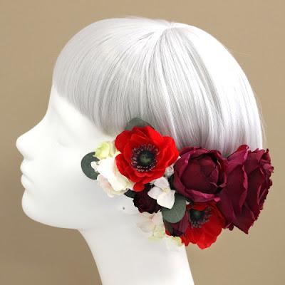 アネモネとローズの髪飾り(ワインレッド)_ウェディングブーケと花髪飾りairaka