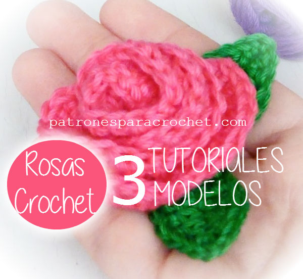 3 tutoriales en video de rosas tejidas al crochet