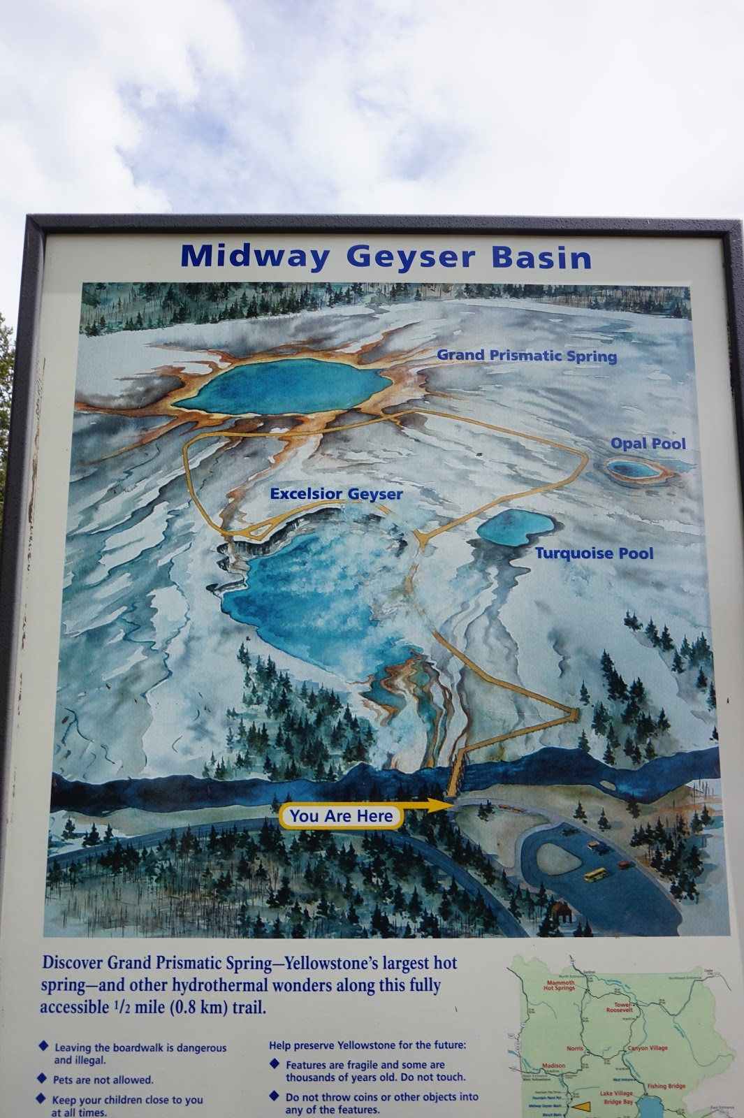 the midway geyser basin is famous for the gorgeous grand prismatic spring it is the park s largest hot spring and home to excelsior geyser s 200x300 foot