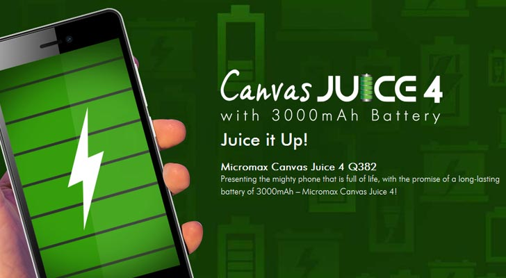 Micromax Canvas Juice 4 listed on Micromax India Website