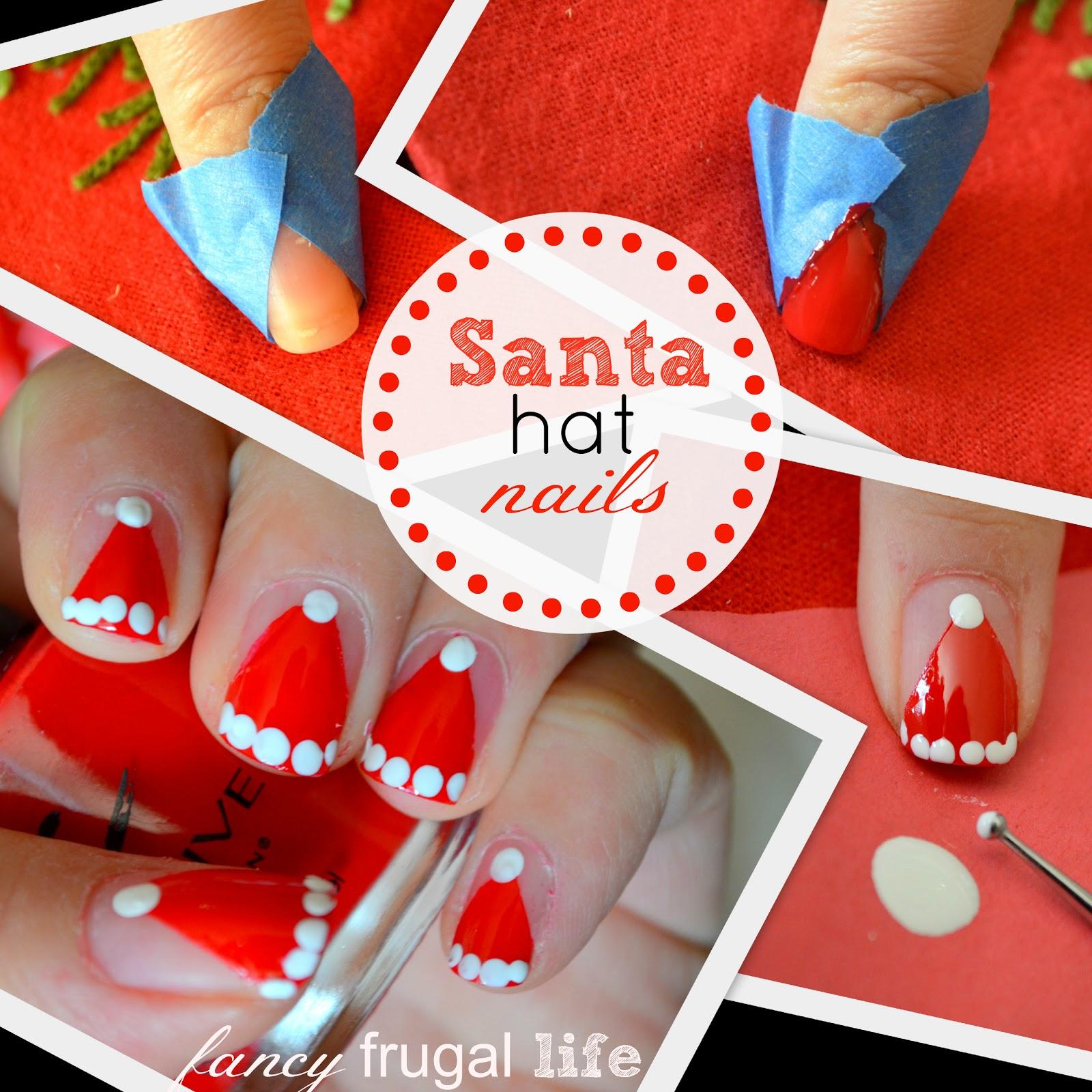 Christmas Nails Tutorial Youtube: DIY Santa Hat Nail Art