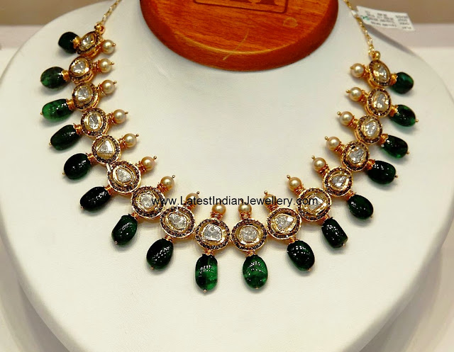 polki diamond emeralds jadau necklace