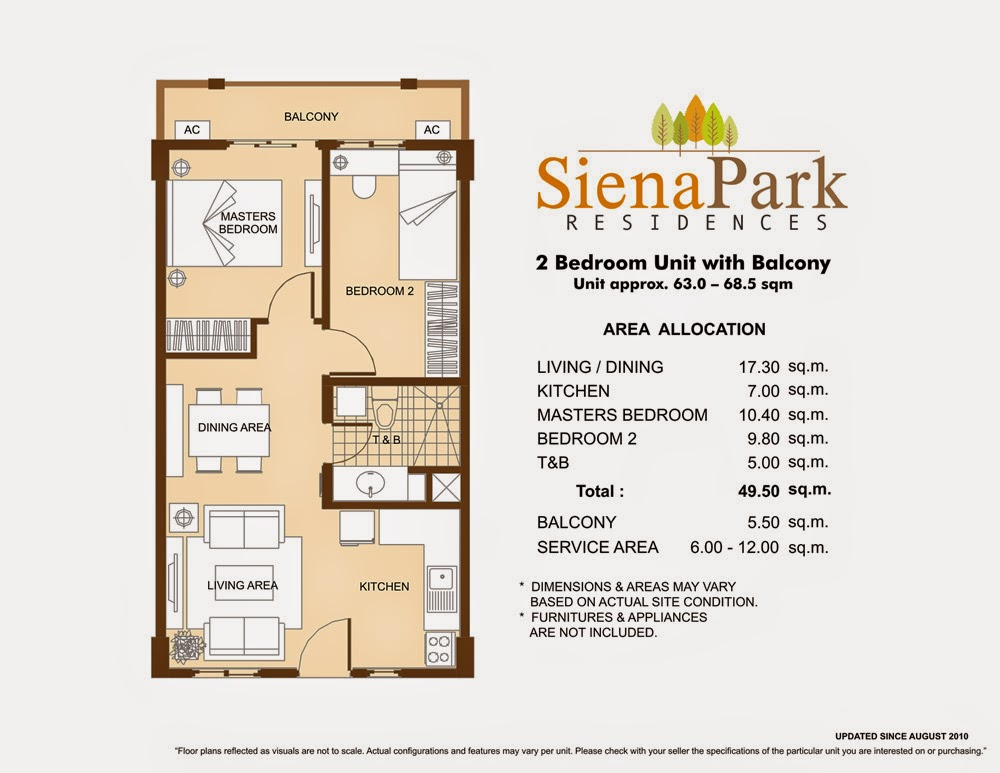 Siena Park Residences 2-Bedroom Unit 49.50 sqm