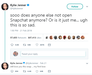 Snapchat's market value dropped by $1.5 billion after Kylie Jenner tweeted she doesn't use the app anymore