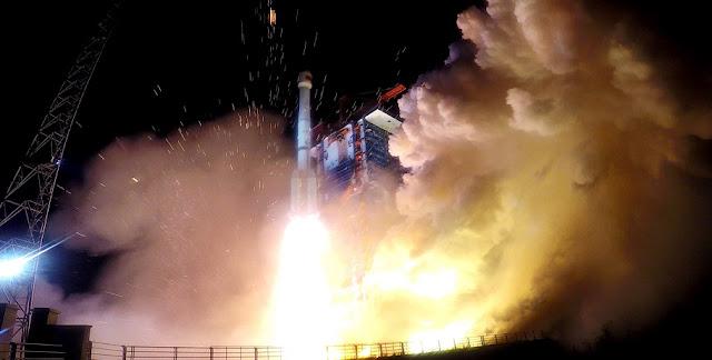 Long March 3B launch with BeiDou-3 M17 and M18 satellites on November 19, 2018. Photo Credit: Xinhua/Ju Zhenhua