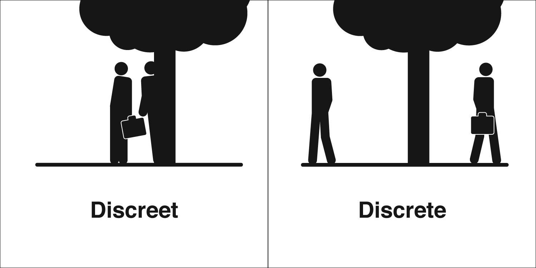 homophones weakly discreet discrete
