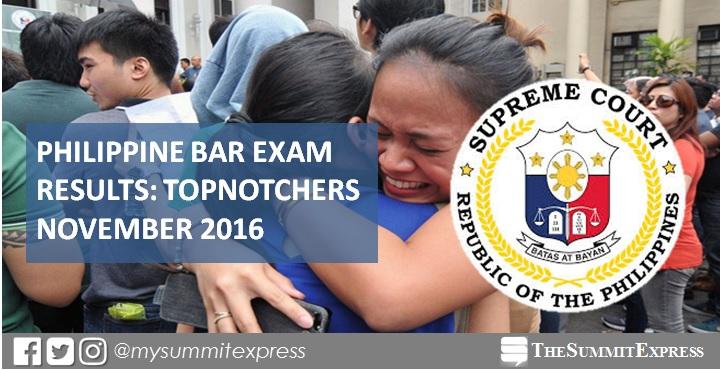 Top 10 Passers: November 2016 Bar Exam Topnotchers