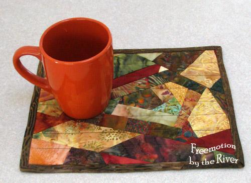 Crazy scrap batik mug rug @Freemotion by the River