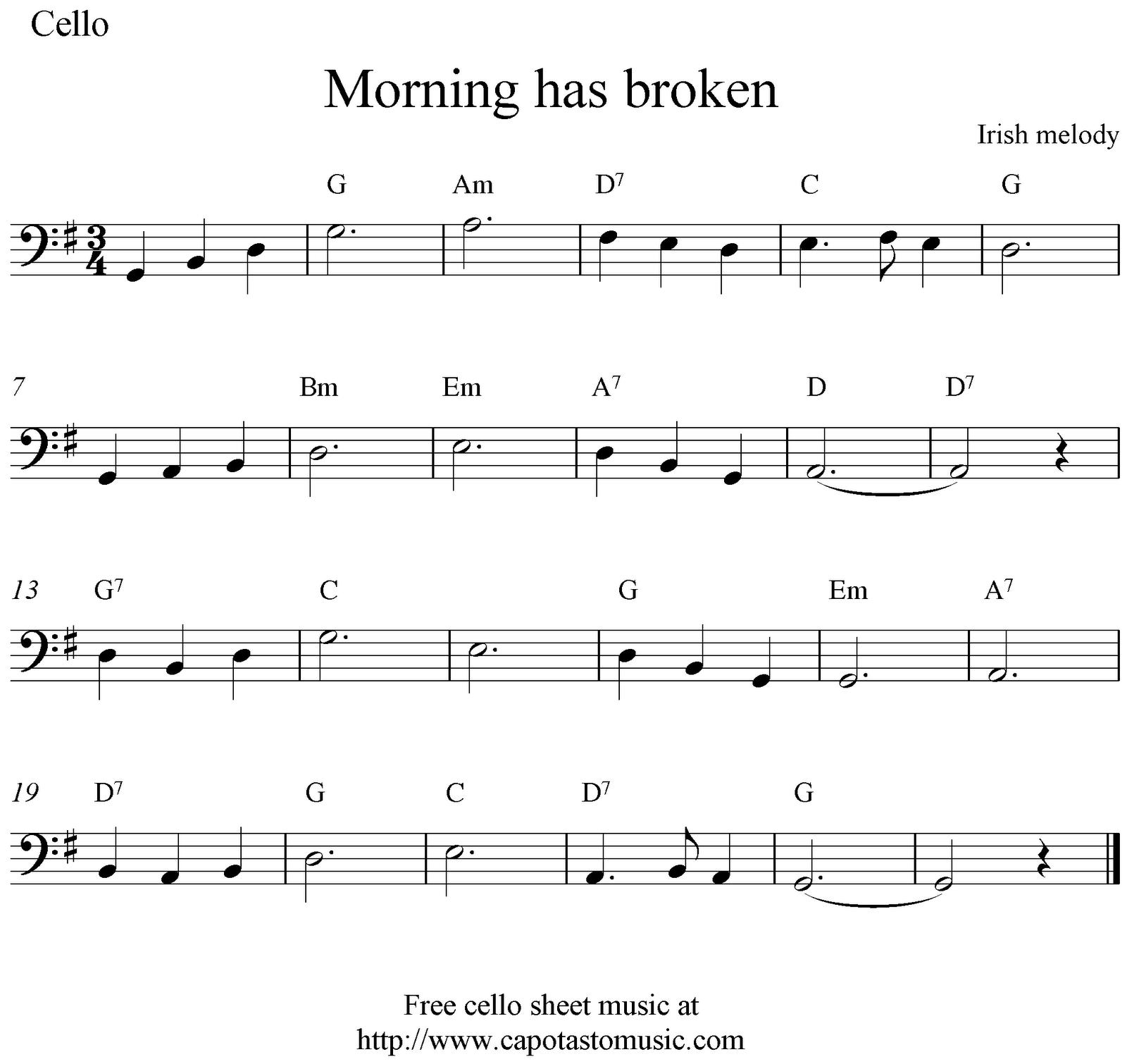 Free Printable Sheet Music Morning Has