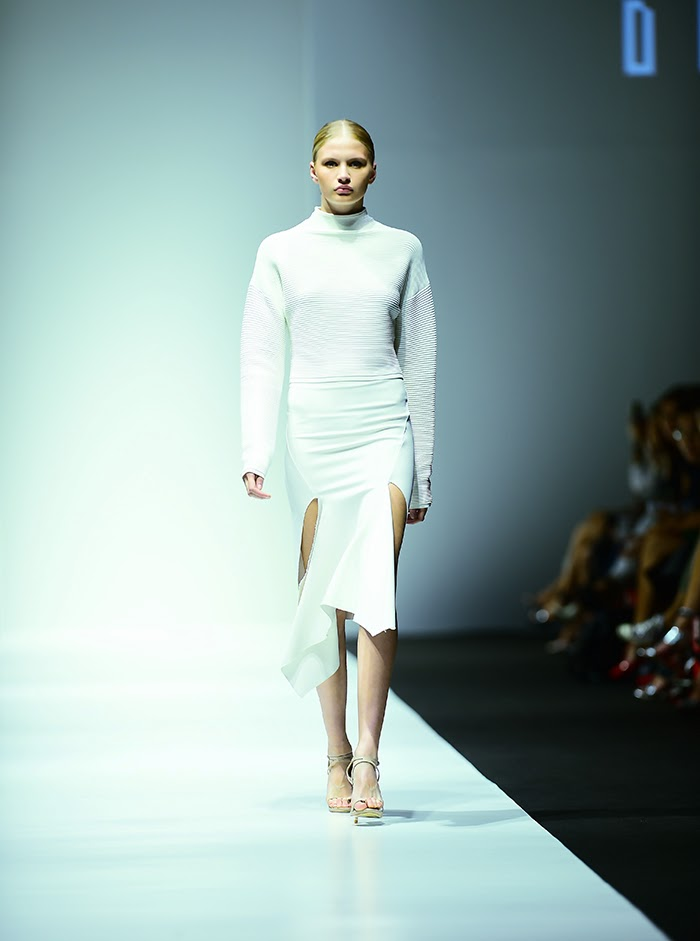 White cascading skirt and sweater- Dion Lee Fall 2015