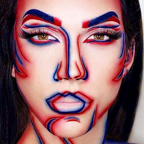 Maquillaje de mujer 3D para Halloween