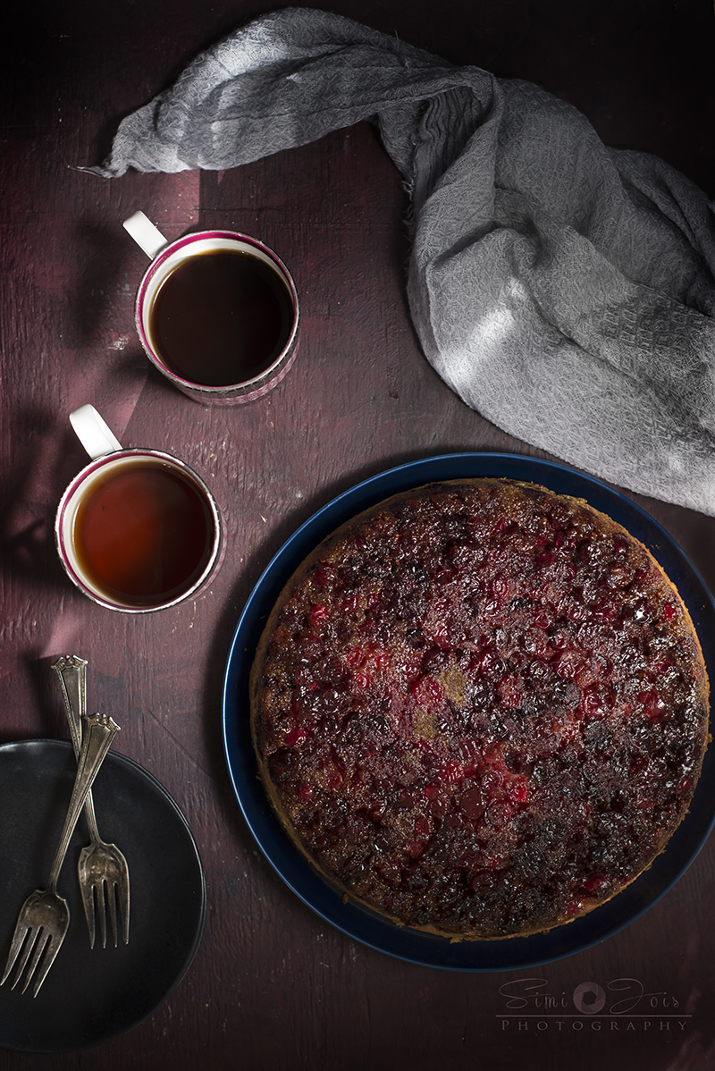 David Lebovitz's Cranberry Upside down Cake - Simi Jois Photography