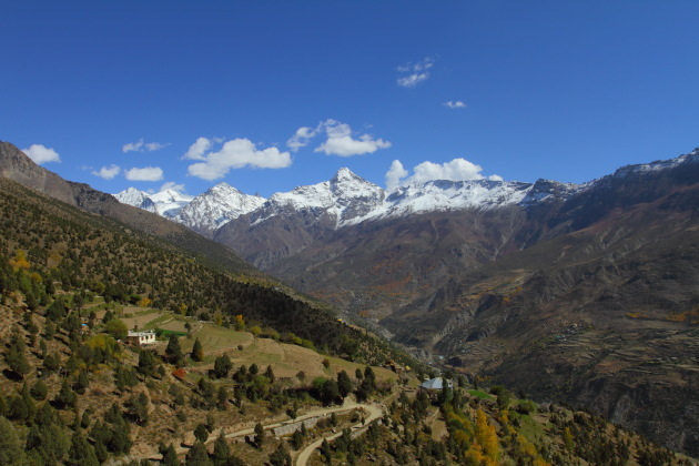 Spectacular view of the snow capped peaks around Keylong as seen from Shashur Gompa