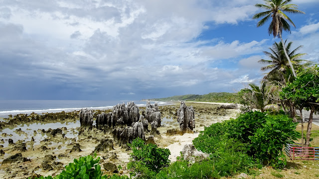On low tide in Nauru, its visible how sharp this shore is