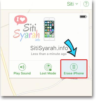 hapus iphone dari iCloud