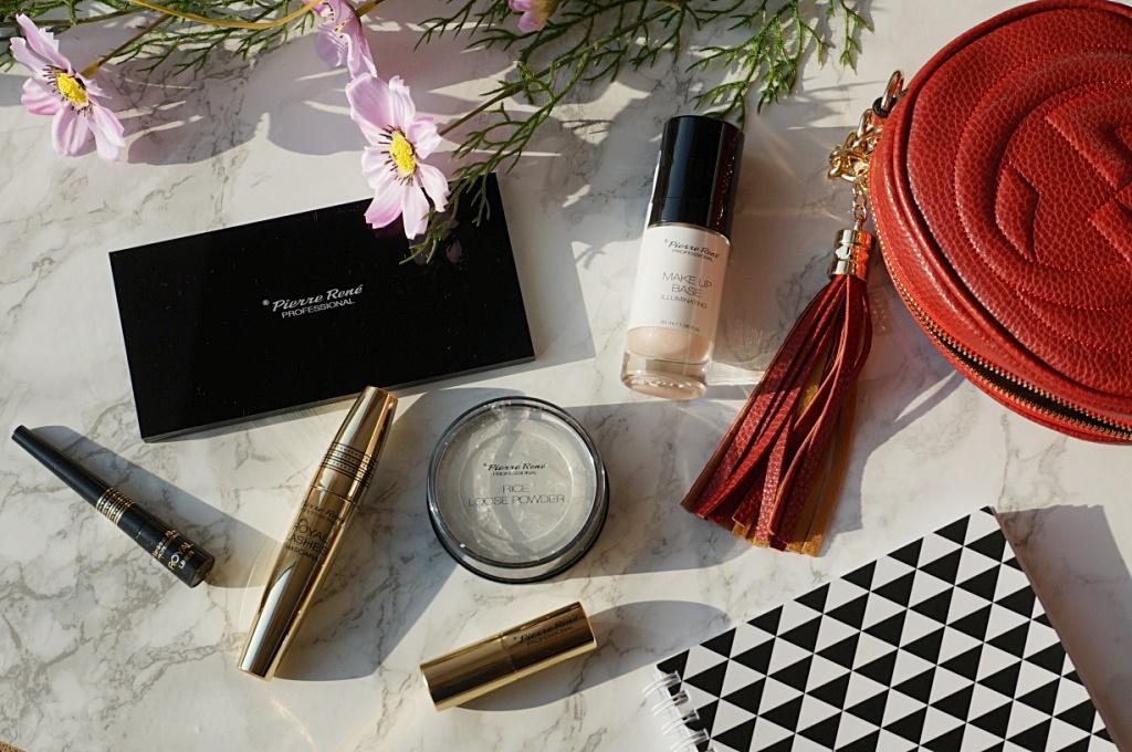 Makijaż z kosmetykami Pierre Rene + SWATCHE - paletka magnetyczna, baza, puder ryżowy, mascara, matowa pomadka