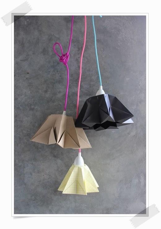lampara origami hecha con cable textil de colores