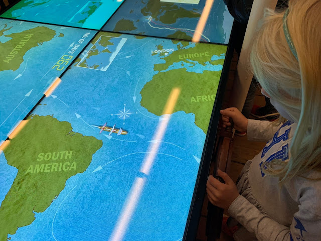 An interactive display on the Cutty Sark involving sailing a ship home as quickly as possible