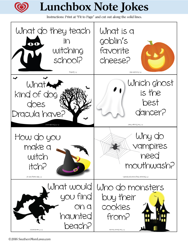 southern mom loves halloween lunchbox note jokes printable how to